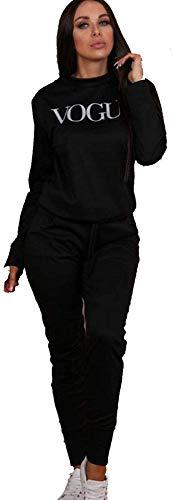 tuta donna vogue UK Donne Vogue Print 2 Pezzi Co-Ord Lounge wear Tuta da donna lunga Black Vouge - Set da 2 pezzi 44/46 IT/M/L
