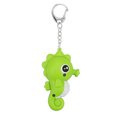 ZqiroLt Schlüsselanhänger, Kunststofflegierung Schlüsselring Armbänder Armband Schlüsselbund Armreif Schlüsselring-Cartoon Seepferdchen Schlüsselbund Grün
