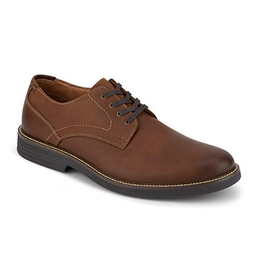 Dockers Mens Parkway Leather Dress Casual Oxford Shoe with NeverWet, Cognac, 10 M