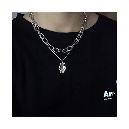 AdorabFruit Présent Pendentif Cruz del corazón Irregular geométrico Metal multicapas Cadena Larga Punky del Grunge Collares for Las Mujeres de los Hombres de joyería (Metal Color : Irregular)