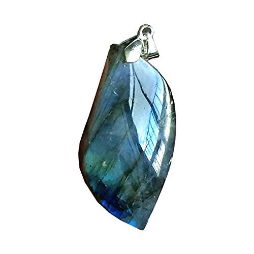 Colgante de labradorita natural, joyería de cuentas de cristal de labradorita para mujeres y hombres, 45 x 22 x 11 mm, piedra de luna de plata amarilla y azul claro AAAAA