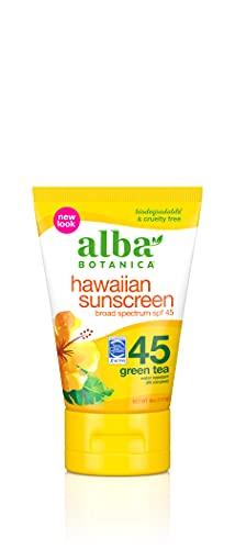 Alba Botanica Sunscreen Lotion SPF 45, Green Tea, 4 Oz