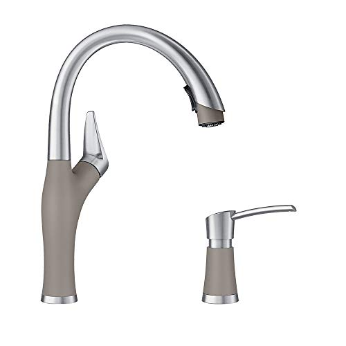 Blanco KF-442027 Artona Pull-Down Kitchen Faucet with Soap Dispenser in Truffle/Stainless
