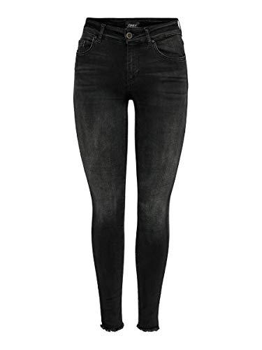 ONLY NOS Damen Skinny Skinny Jeans onlBLUSH MID ANK RAW JEANS REA1099 NOOS, Schwarz (Black Denim), W29/L32 (Herstellergröße: Medium)