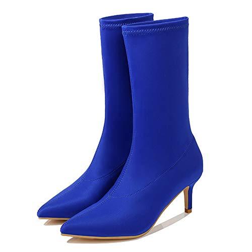 Yhjmdp Botas calcetín Tobillo tacón Fino Botines elásticos Puntiagudos Zapatos de Mujer Sexy Fiesta señoras Botas Confort,Azul,38 ✅