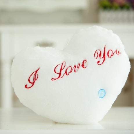 HUANGMENG Pillow Heart Shaped English Letter Pattern Glowing Light Plush Pillow Toy Cushion(White) (Color : White)