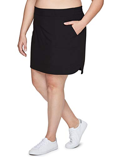 RBX Active Women's Plus Size Woven Skort w/Bike Shorts and Pockets S19 Black 1X