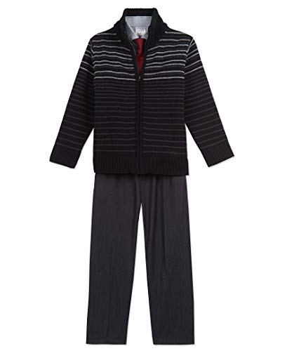 Calvin Klein Boys' Little Cardigan Sweater Set, Black Stripes, 6