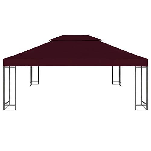 Benkeg Toldo De Cenador 4X3 M 2 Niveles Burdeos 310 G/M² Impermeable, Toldo De Repuesto Techo del Cenador, Toldo De Jardín Toldo De Exterior Cenador para Patio