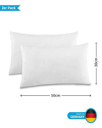 Betten Duscher Pack de 2Sofá Cojín relleno cojines de plumas Cojín (30x 5040x 6050x 60, 100 % algodón, Blanco, 30 x 50 cm