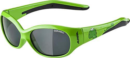 ALPINA Unisex - Kinder, FLEXXY KIDS Sportbrille, green dino gloss, One Size