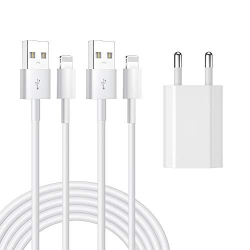 AAJO Cable de carga y cargador de teléfono de 1 m, compatible con Phone12/12mini/12 Pro/11/11 Pro XS/Max/XR/X/8/8 Plus/7/7 Plus/6/6S/6 Plus/5S/SE/Pad Mini/Air/Pro (B21).