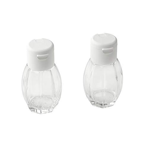 Fackelmann Salz-und Pfefferstreuer, Glas, Deckel Weiß, 8 cm, 40 ml, 2er-Set