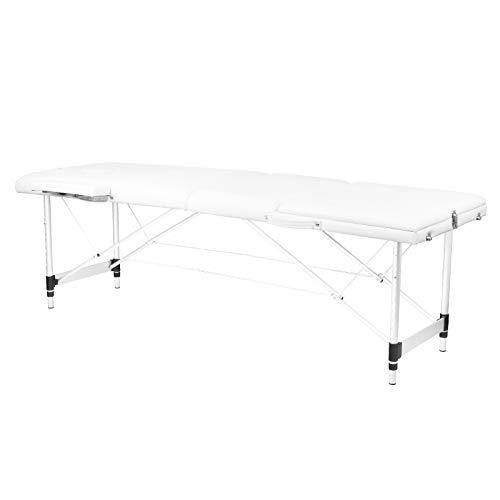 Camilla de masaje de 3 zonas, de aluminio, plegable, portátil, con bolsa de transporte, color blanco