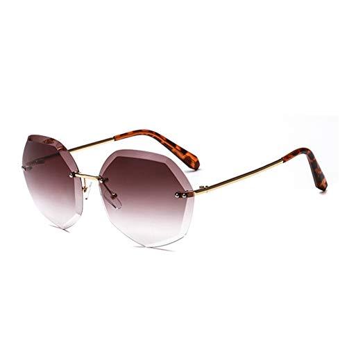 GEDASHU Sonnenbrille Randlose Sonnenbrille Frauen Diamantschliff Rahmenlose Sonnenbrille Weiblich Uv400 Retro Shades Damen Candy Gradient Color Eyewear