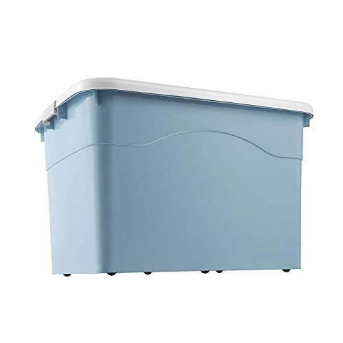 TTOOY Thickened Storage Box Household Plastic Clothes Storage Box Moving Storage Box Toy Storage Box With Lid Wardrobe Dustproof Finishing Box (Color : Blue, Size : 63.5x46.5x37.5cm)