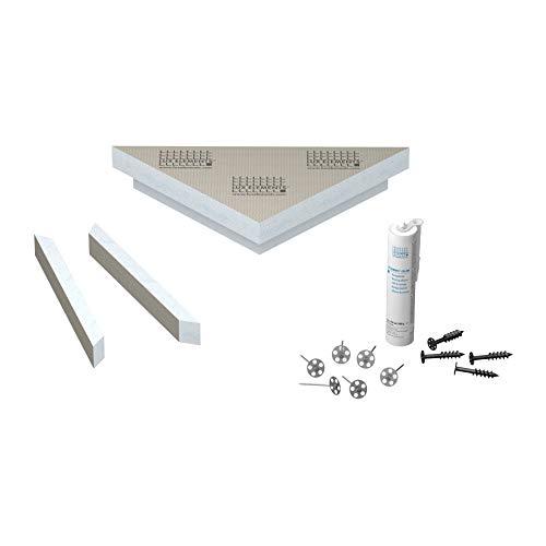 LUX ELEMENTS Ecksitzbank für die Dusche Fertig zum Verfliesen, RELAX-BA-CO FLOAT S LREL8001, Grau, 61 x 43 cm