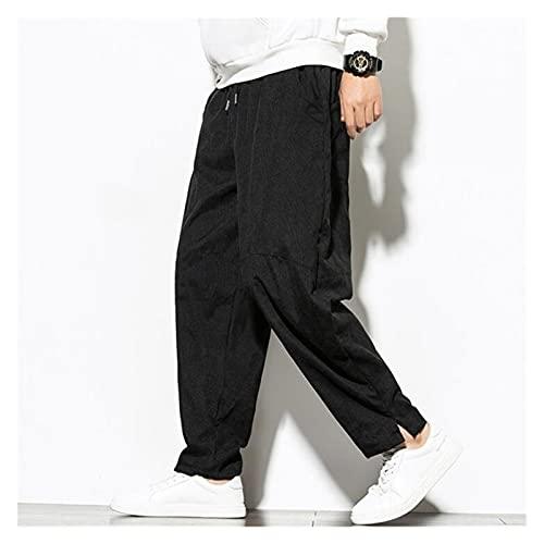 DOUYUAN Pantalón Cargo de Punk Pant Corduroy Pantalones Hombre Japonés Retro Casual Harem Pantalones Calle Fashion Flood Plus Size Pantalones (Color : Black, Size : 4XL)