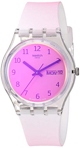 Swatch Correa de silicona de cuarzo transformación, blanco, 16 reloj casual (Modelo: GE719)