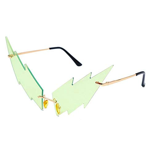 ZZOW Gafas De Sol Sin Montura Irregulares Únicas De Moda para Mujer, Gafas De Lente con Forma De Rayo Colorido, Gafas De Sol De Tendencia para Hombre, Sombras Uv400