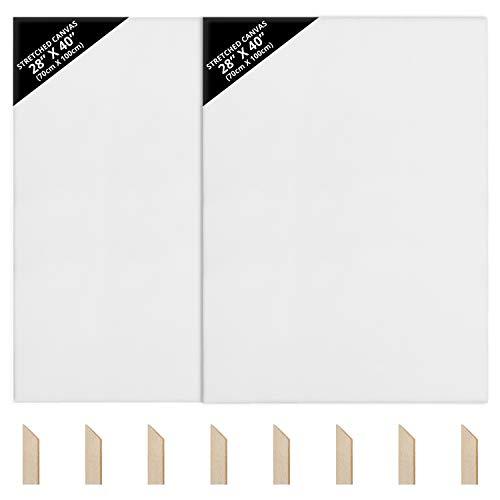 Kurtzy Lienzos para Pintar en Blanco (Pack de 2) - 70 x 100 cm – Set Lienzo Blanco Muy Grande Preestirado con Cuñas de Madera - Lienzos Óleo y Acrílico - Lienzos para Pintar, Bocetos y Dibujos
