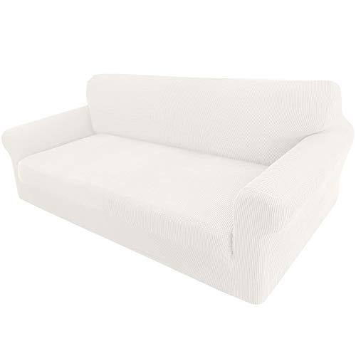 Granbest - Funda elástica para sofá de 3 plazas, elegante, para gatos, perros y muebles, de tejido jaquard (3 plazas), color blanco