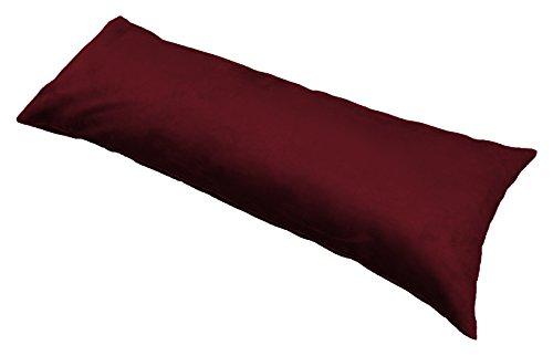 "Ultra-Soft Plush Micro-Suede Body Pillow Cover with Hidden Zipper 20"" X 54"" (Burgundy)"