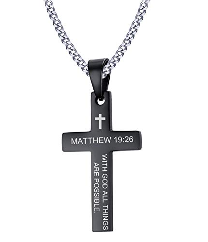 VNOX with GOD All Things are Possible Engraved Inspirational Cross Pendant Necklace Personalized Gift for Men Women,Free Chain 24\',Black