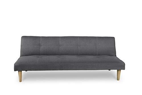 buenos comparativa HOGAR24 ES Sofá cama de 3 plazas tapizado en tela gris, sistema de apertura de libros o… y opiniones de 2021