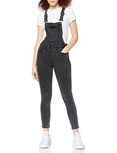 Urban Classics TB1537 Damen Skinny Latzhose Ladies Dungaree, Gr. Small, Schwarz (acid black 706)