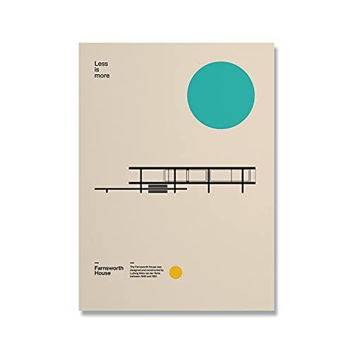 Bauhaus Exhibition Farnsworth House Poster Minimal Art Lienzo Impresión Abstracta Arquitectura Pintura Pared Cuadro para Sala 70x90cm Sin Marco