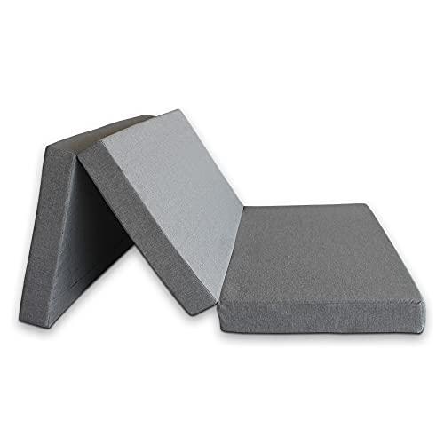 Ventadecolchones - Colchón Plegable con Cierre y Asa - Espuma HR30 (Suave) - 120 cm x 190 cm x 10 cm en Loneta Premium Gris
