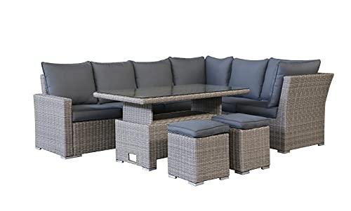 Miami Rattan 8 Seat Corner Sofa Set with Rise + Fall Table Half Round Weave Reversible
