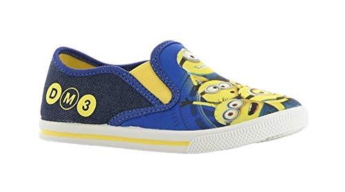 Minions - Zapatillas deportivas para niños, de lona, cómodas, con goma elástica, tallas 24-32, color Azul, talla 29 EU
