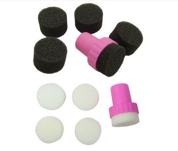 Lot de 2 New Nail Art Stamping éponge Noir + Blanc pour Ongles Design Sponge Éponge technique 6 pièces, Accessoires