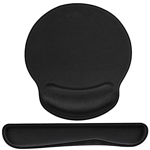 Mouse Pad, Keyboard with Wrist Support, Ergonomic Wrist Pad Memory Foam Pain Relief for Computer/Laptop/Desk/Carpal Tunnel, Black
