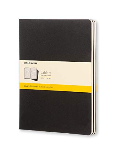 Squared Cahier: Extra Large, Black, 3 Pack