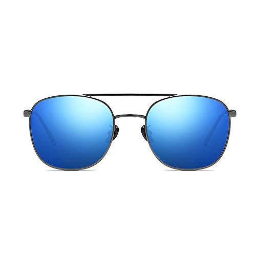 Sunglass Fashion Marco de Metal clásico de conducción al Aire Libre Pesca Gafas Aviador Gafas de Sol polarizadas para Hombre (Color : Blue, Size : Free)