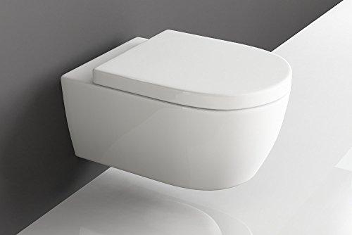 Design Hänge WC Spülrandlos Toilette inkl. WC Sitz mit Softclose Absenkautomatik + abnehmbar SSWW