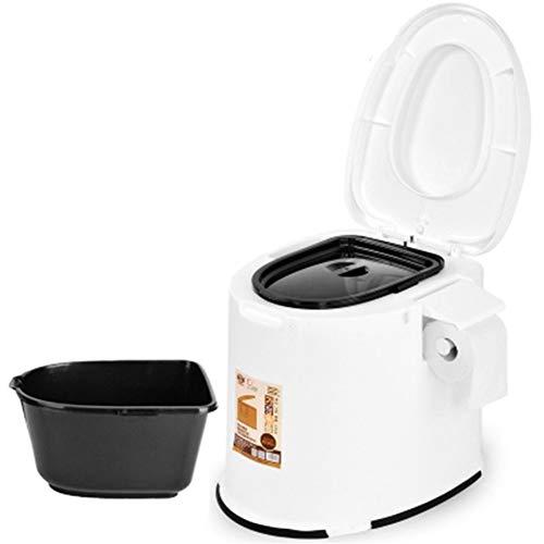 WYFDM Toilette Portatile per Campeggio 12L Toilette Portatile Toilette Mobile Viaggi Campeggio Esterno Escursionismo Toilette per Uomo Anziano Bambini in Gravidanza Carovana Vasino da Viaggio,Bianca