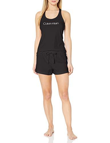 Calvin Klein Women's Jersey Sleeveless Short Set, Black, X-Large