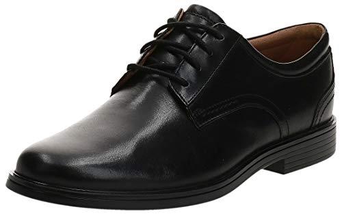 Clarks Un Aldric Lace, Oxford Plano Hombre, Black Leather, 39.5 EU