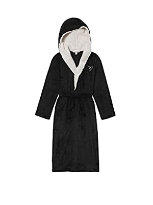Victoria's Secret Women's Cozy Hooded Long Robe with Embroidered Heart