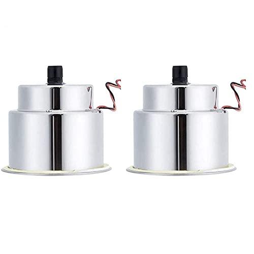 Breezeu Inserto per Portabevande in Acciaio Inossidabile da 2 Pezzi con Scarico e LED per Camper (15 LED Blu)
