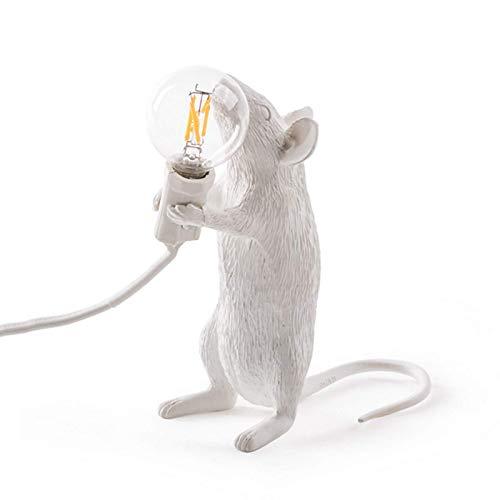 zZZ Zambista Luz de Escritorio de Resina con Forma de ratón, lámpara de Mesa para decoración de cabecera de habitación en casa (Color : Standing, Size : White)