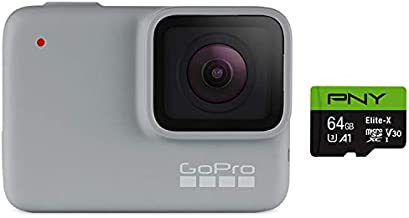 GoPro HERO7 White + 64 GB SD Card - E-Commerce Packaging - Waterproof Digital Action Camera with Touch Screen 1080p HD Video 10MP Photos Live Streaming Stabilization