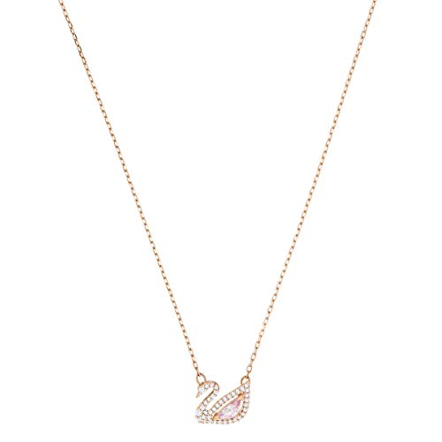 Swarovski Dazzling Swan Necklace, Brilliant White Crystals with Elegant Rose-Gold Tone Plated Metal, from the Swarovski Dazzling Swan Collection