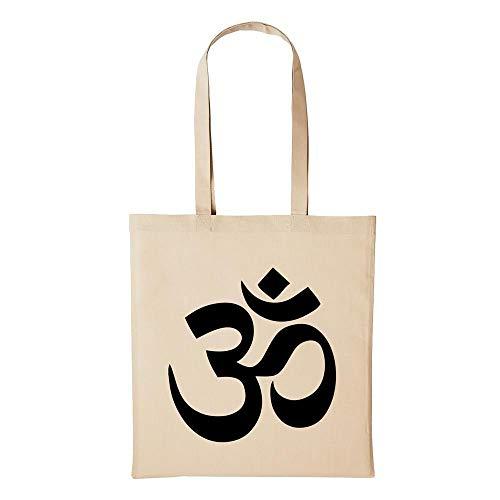 Hellweg Druckerei Baumwolltasche Jutebeutel Bedruckt OM Zeichen Symbol Hinduismus