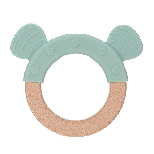 LÄSSIG Baby Greifling Beißring Beißhilfe Holz  Silikon schadstoffgeprüft Spielen Anfassen Motorik Zahnen/ Teether Ring, Little Chums Dog, blau