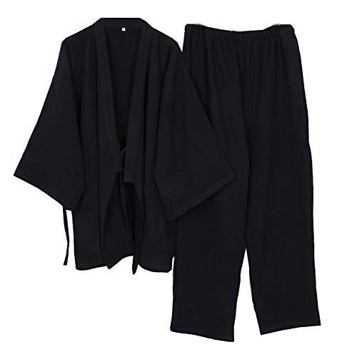 Bata Japonesa de meditación para Hombre, Doble Gasa, Bata de algodón, Pijama de Kimono, camisón [Negro, Talla M]